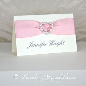 Ribbon Heart Place Card - Option 2